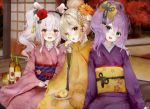 3girls alcohol alternate_hair_length alternate_hairstyle apple_slice autumn autumn_leaves ayanami_(azur_lane) azur_lane bangs blonde_hair blush bottle commentary_request cup drinking_glass eating eyebrows_visible_through_hair flower furisode green_eyes hair_between_eyes hair_bun hair_flower hair_ornament hairband head_tilt highres indoors japanese_clothes javelin_(azur_lane) kimono laffey_(azur_lane) lavender_hair long_sleeves medium_hair multiple_girls obi open_mouth orange_eyes purple_hair rasukii_(pamiton) sash shouji sidelocks sleeves_past_wrists sliding_doors smile tatami tongue tree twintails wide_sleeves wine_bottle
