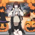 6+girls alchemist_(girls_frontline) alternate_costume architect_(girls_frontline) awkward balloon bandages bangs bat black_hair blue_eyes blurry_foreground blush braid breasts brown_eyes brown_hair cape demon_horns eyebrows_visible_through_hair eyepatch floating_hair full_moon girls_frontline grey_hair hair_ornament half_mask halloween halloween_costume hat headband highres holding horns jack-o'-lantern jacket jiangshi ksvk_(girls_frontline) large_breasts light_particles long_hair looking_at_viewer m870_(girls_frontline) mg3_(girls_frontline) mmm_(ji1945) model_l_(girls_frontline) moon multiple_girls off_shoulder ofuda open_mouth outstretched_arms photo_(object) pink_eyes pumpkin pumpkin_costume sangvis_ferri side_ponytail sidelocks silver_hair sitting skirt smile sweatdrop sweater tree type_97_shotgun_(girls_frontline) v very_long_hair wide_sleeves witch_hat yellow_eyes