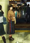 alternate_costume ankle_boots bag bangs black_hair black_legwear black_skirt blunt_bangs blurry blush boots brown_footwear brown_sweater building casual city closed_umbrella crowd depth_of_field green_eyes hair_ornament hairclip highres kneehighs kurosawa_dia long_hair long_skirt long_sleeves looking_at_viewer love_live! love_live!_sunshine!! multiple_boys multiple_girls night papi_(papiron100) parted_bangs pillar rain red_legwear reflective_floor school_uniform serafuku shirt shoulder_bag sidelocks skirt socks solo_focus sweater train_station umbrella water waving white_shirt