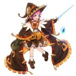 1girl bow bozugame dress facial_mark fae_(fire_emblem) fire_emblem fire_emblem:_the_binding_blade fire_emblem_heroes forehead_mark full_body green_eyes halloween_costume hat holding holding_sword holding_weapon long_sleeves open_mouth purple_hair short_hair simple_background solo sword weapon white_background wide_sleeves witch_hat