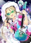 1girl absurdres blonde_hair cowboy_shot drone electric_guitar feather_trim guitar highres instrument jacket joakim_waller long_hair microphone microphone_stand one_eye_closed original pink_shirt pointing scarf shirt solo sunglasses twintails