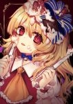 1girl :p ascot bangs blonde_hair blue_bow blue_choker blush bow brown_background chocolate choker commentary_request eyebrows_visible_through_hair flandre_scarlet food food_on_face frilled_shirt_collar frills fruit hair_between_eyes hair_bow hands_up highres holding holding_knife icing knife kyouda_suzuka long_hair looking_at_viewer no_hat no_headwear one_side_up outside_border puffy_short_sleeves puffy_sleeves red_eyes ribbon_choker shirt short_sleeves solo strawberry striped striped_bow tongue tongue_out touhou upper_body white_shirt wrist_cuffs yellow_neckwear