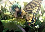 1girl absurdres antennae aqua_hair barefoot bug butterfly butterfly_wings dress eternity_larva flower green_dress head_on_hand highres insect leaf leaf_on_head otoshiro_kosame short_sleeves solo touhou wings yellow_eyes