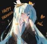 1girl aqua_eyes aqua_hair bangs bare_shoulders black_background blue_neckwear blush bow character_name closed_mouth collared_shirt detached_sleeves ear_piercing earrings eyebrows_visible_through_hair fang fingernails frills hair_between_eyes hair_ornament hairclip halloween happy_halloween hat hatsune_miku heart iftuoma jewelry lace long_hair mini_hat necktie one_eye_closed orange_bow piercing shirt simple_background smile solo sparkle stud_earrings twintails upper_body very_long_hair vocaloid white_headwear white_shirt wide_sleeves
