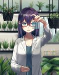 1girl black_hair blue_eyes blurry blurry_background blush collarbone commentary_request depth_of_field eyebrows_visible_through_hair flower glasses hair_between_eyes hair_flower hair_ornament highres holding indoors labcoat long_sleeves nazuna_(nazuna_a2) original parted_lips plant potted_plant red-framed_eyewear semi-rimless_eyewear solo standing test_tube under-rim_eyewear