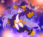 1girl alternate_costume bangs bat bat_hair_ornament blue_eyes commentary english_commentary eyebrows_visible_through_hair fangs fate/extra fate/extra_ccc fate/grand_order fate_(series) flat_chest frilled_sleeves frills full_body hair_ornament halloween halloween_costume hat hat_ribbon heart heart_in_eye highres jack-o'-lantern long_hair looking_at_viewer meltryllis navel open_mouth orange_panties panties pumpkin purple_hair revealing_clothes ribbon ribbon_panties sharp_teeth sleeves_past_fingers sleeves_past_wrists slit_pupils solo stomach symbol_in_eye teeth tenk underwear very_long_hair very_long_sleeves witch_hat