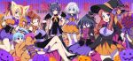 6+girls ahoge alcohol aona_masao bandages black_hair blonde_hair blue_hair bow breasts brown_hair candy cape covered_navel crossed_legs cup demon_horns demon_wings drinking_glass eating elbow_gloves food gloves grey_hair halloween halloween_costume hat horns hoshikawa_lily konno_junko lollipop long_hair minamoto_sakura mizuno_ai multiple_girls nikaidou_saki one_eye_closed paw_gloves paws pumpkin redhead tail top_hat wine wine_glass wings witch_hat yamada_tae yuugiri_(zombie_land_saga) zombie_land_saga