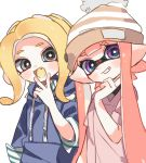 2girls :d bangs blonde_hair blue_eyes blue_shirt blunt_bangs blush bobblehat brown_headwear collared_shirt domino_mask drawstring fang green_shirt grey_eyes grin head_tilt hood hoodie inkling long_hair long_sleeves looking_at_viewer maco_spl makeup mascara mask medium_hair multiple_girls octarian octoling open_mouth pink_hair pink_shirt pointy_ears sharp_teeth shirt side-by-side simple_background smile splatoon_(series) standing striped striped_hat striped_shirt suction_cups teeth tentacle_hair v white_background yellow_tongue