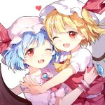 2girls ;d ascot bangs bat_wings blonde_hair blue_hair blush brooch commentary_request dress eyebrows_visible_through_hair fang flandre_scarlet glomp hat hat_ribbon heart highres hug jewelry looking_at_viewer mob_cap multiple_girls one_eye_closed one_side_up open_mouth pink_dress pink_headwear puffy_short_sleeves puffy_sleeves red_eyes red_neckwear red_ribbon red_skirt red_vest remilia_scarlet ribbon risui_(suzu_rks) shirt short_hair short_sleeves siblings simple_background sisters skirt skirt_set smile touhou upper_body vest white_background white_headwear white_shirt wings wrist_cuffs