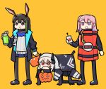 3girls amiya_(arknights) arknights brown_hair dinergate_(girls_frontline) donkey_ears dynamite girls_frontline halloween halloween_basket halloween_costume jack-o'-lantern multiple_girls suicide_bomb timer trick-or-treating vento