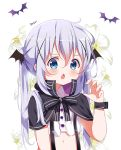 1girl artist_name bangs black_bow black_capelet black_wings blue_eyes blush bow capelet chestnut_mouth claw_pose commentary_request crop_top deyui eyebrows_visible_through_hair fang floral_background flower gochuumon_wa_usagi_desu_ka? hair_between_eyes hair_ornament halloween hand_up head_wings kafuu_chino long_hair navel open_mouth shirt signature silver_hair simple_background solo striped striped_bow twintails upper_body white_background white_flower white_shirt wings wrist_cuffs x_hair_ornament