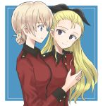 2girls assam bangs black_ribbon blonde_hair blue_background blue_eyes border braid closed_mouth commentary darjeeling epaulettes from_side gesture girls_und_panzer hair_pulled_back hair_ribbon jacket long_hair long_sleeves looking_at_another military military_uniform multiple_girls mutsu_(layergreen) outside_border red_jacket ribbon short_hair smile st._gloriana's_military_uniform tied_hair uniform white_border