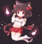 1girl animal_ear_fluff animal_ears arm_up black_background bow breasts brown_hair cat_ears cat_tail commentary_request floating full_body hair_bow highres hitodama midriff miniskirt navel original paw_pose pink_eyes red_skirt ribbon shirt short_hair simple_background skirt small_breasts solo tail tail_ribbon thigh-highs two_side_up white_legwear white_shirt
