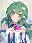 1girl :q artist_name bangs bare_shoulders blush breasts commentary_request detached_sleeves eyebrows_visible_through_hair frog_hair_ornament green_eyes green_hair grey_background hair_ornament hair_tubes hands_up heart heart_hands kochiya_sanae long_hair long_sleeves looking_at_viewer shirt single_sidelock small_breasts smile snake_hair_ornament solo syuri22 tongue tongue_out touhou upper_body v-shaped_eyebrows white_shirt