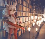 1girl black_hair book bookshelf brown_eyes closed_mouth eyebrows_visible_through_hair head_wings indoors japanese_crested_ibis_(kemono_friends) kemono_friends kolshica library light_bulb long_sleeves looking_at_viewer multicolored_hair pantyhose red_legwear red_skirt redhead short_hair skirt solo white_hair