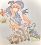 1girl 2019 :t cookie dated demon_horns demon_tail demon_wings eyepatch food ghost groin halloween halloween_costume hat highres horns iseki_shuuichi jack-o'-lantern kneeling leotard neon_genesis_evangelion solo souryuu_asuka_langley striped striped_legwear tail thighs traditional_media trick_or_treat wings witch_hat