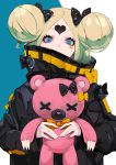 1girl abigail_williams_(fate/grand_order) bangs black_bow black_jacket blonde_hair blue_eyes bow commentary_request covered_mouth double_bun fate/grand_order fate_(series) hair_bow heart heroic_spirit_traveling_outfit highres holding holding_stuffed_animal jacket long_hair long_sleeves looking_at_viewer orange_bow parted_bangs polka_dot polka_dot_bow ram_(ramlabo) sleeves_past_wrists solo stuffed_animal stuffed_toy teddy_bear upper_body