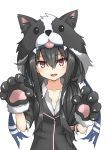 1girl animal_hood black_hair blazer commentary_request dog_hood fangs gloves hatsushimo_(kantai_collection) headband highres hood jacket kantai_collection long_hair looking_at_viewer low-tied_long_hair paw_gloves paw_pose paws red_eyes remodel_(kantai_collection) school_uniform simple_background skin_fangs solo umino_ht upper_body white_background