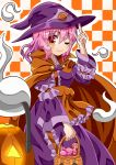 alternate_color alternate_headwear arm_garter arm_up basket candy cape checkered checkered_background commentary_request eyebrows_visible_through_hair finger_to_headwear food fruit halloween halloween_basket hat highres hitodama holding holding_basket jack-o'-lantern japanese_clothes kimono long_sleeves looking_at_viewer obi one_eye_closed orange orange_background orange_cape outline partial_commentary pink_eyes pink_hair purple_kimono saigyouji_yuyuko sash short_hair simple_background smile sugiyama_ichirou touhou triangular_headpiece white_background witch_hat