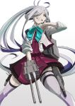 1girl ahoge asashimo_(kantai_collection) boushi-ya dress from_below gradient_hair grey_eyes grey_hair hair_over_one_eye halterneck highres holding_turret kantai_collection long_hair looking_at_viewer looking_down multicolored_hair ponytail purple_dress purple_legwear remodel_(kantai_collection) school_uniform silver_hair simple_background sleeves_rolled_up solo thigh-highs white_background