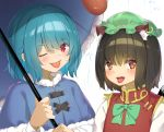 2girls ;p animal_ear_fluff animal_ears blue_capelet blue_hair blush bow bowtie brown_hair capelet cat_ears cat_tail chen eyebrows_visible_through_hair fur-trimmed_capelet fur_trim green_headwear hair_between_eyes hat holding holding_umbrella jewelry karakasa_obake long_sleeves looking_at_viewer mob_cap multiple_girls multiple_tails one_eye_closed open_mouth piyodesu red_eyes red_vest shirt short_hair side-by-side single_earring tail tatara_kogasa tongue tongue_out touhou umbrella vest white_shirt
