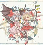 2girls :3 apple blonde_hair blush bow chibi closed_mouth eyebrows_visible_through_hair fang fire flandre_scarlet food fruit hat highres holding holding_food holding_fruit kolshica lavender_hair looking_at_viewer mob_cap multiple_girls open_mouth red_bow red_eyes red_footwear remilia_scarlet short_hair smile touhou white_footwear wings