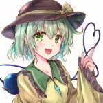 1girl :d aqua_hair arm_up black_headwear blouse blush breasts collarbone commentary_request eyebrows_visible_through_hair frilled_shirt_collar frilled_sleeves frills green_eyes hair_between_eyes hat hat_ribbon heart heart_of_string highres ikazuchi_akira komeiji_koishi looking_at_viewer open_mouth ribbon short_hair simple_background sketch sleeves_past_wrists small_breasts smile solo third_eye touhou upper_body upper_teeth white_background yellow_blouse