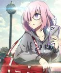 1girl :o alternate_costume bag black-framed_eyewear blue_sky bright_pupils casual cellphone clock collarbone day drawstring duffel_bag fate/grand_order fate_(series) glasses grey_jacket hair_over_one_eye highres holding holding_cellphone holding_phone hood hood_down hooded_jacket iphone jacket lens_flare long_sleeves looking_away looking_to_the_side mash_kyrielight open_mouth outdoors parted_lips phone pink_hair revision short_hair sky smartphone solo sunlight tom_(drpow) upper_body violet_eyes