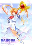 1girl absurdres blush boots bow character_name copyright_name feathers ferret floating floating_hair highres huge_filesize jacket left-handed looking_at_viewer lyrical_nanoha magical_girl mahou_shoujo_lyrical_nanoha raising_heart redhead shoes sky smile solo source_request staff takamachi_nanoha tom_(1art.) twintails uniform upskirt violet_eyes watermark web_address winged_shoes wings yuuno_scrya