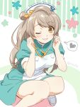 1girl bangs brown_eyes dress eyebrows_visible_through_hair floral_background frills grin hair_ornament hands_up hat heart knees_together_feet_apart light_brown_hair loafers long_hair looking_at_viewer love_live! love_live!_school_idol_project minami_kotori nurse nurse_cap one_eye_closed one_side_up puffy_short_sleeves puffy_sleeves shoes short_sleeves smile solo speech_bubble spoken_heart squatting stethoscope striped striped_background swept_bangs tareme tokira_nozumi twitter_username vertical-striped_background vertical_stripes white_footwear