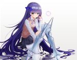 1girl alternate_costume bangs blue_eyes blue_ribbon blue_skirt blush breasts bubble bubble_blowing collared_shirt commentary fate/extra fate/extra_ccc fate/grand_order fate_(series) hair_ribbon knees_up long_hair long_sleeves meltryllis neck_ribbon pleated_skirt prosthesis purple_hair purple_ribbon ribbon school_uniform shirt sitting skirt small_breasts solo sweater_vest uniform very_long_hair walletbreaker
