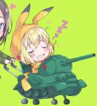 2girls bangs black_hair blonde_hair blue_eyes blush chibi chibi_inset closed_eyes commentary eyebrows_visible_through_hair fang girls_und_panzer green_background ground_vehicle heart katyusha looking_at_another military military_vehicle motor_vehicle multiple_girls nonna open_mouth pikachu pikachu_costume pokemon pulp_piroshi saliva short_hair simple_background sleeping smile stroller t-34 tank zzz