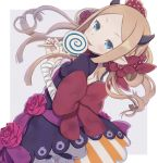 1girl abigail_williams_(fate/grand_order) bandaged_arm bandaged_hands bandages bangs black_dress blue_eyes bow candy commentary_request demon_horns dress dutch_angle fate/grand_order fate_(series) flower food forehead grey_background hair_bow holding holding_food holding_lollipop horns light_brown_hair lollipop long_hair parted_bangs parted_lips pointy_ears puffy_short_sleeves puffy_sleeves red_bow red_flower red_rose rose short_sleeves solo swirl_lollipop tongue tongue_out totatokeke two-tone_background very_long_hair white_background