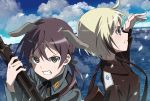 2girls black_eyes blonde_hair blue_eyes clouds cloudy_sky commentary dirty_face dutch_angle epaulettes erica_hartmann flying gertrud_barkhorn grimace grin gun hair_ribbon hand_up highres horizon light_particles long_hair looking_afar looking_at_viewer machine_gun mg42 multicolored_hair multiple_girls naguramu neck_ribbon ocean purple_hair ribbon serious short_hair sky sling smile strike_witches twintails upper_body water weapon world_witches_series