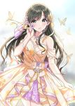 1girl animal bare_shoulders black_hair blurry blurry_background blush brown_dress bug butterfly collarbone commentary_request depth_of_field dress earrings flower grey_eyes hair_flower hair_ornament hair_ribbon hand_up highres holding holding_flower idolmaster idolmaster_cinderella_girls idolmaster_cinderella_girls_starlight_stage insect jewelry kobayakawa_sae long_hair looking_at_viewer necklace parted_lips pearl_necklace purple_flower ribbon solo strapless strapless_dress sutoroa very_long_hair white_flower yellow_ribbon