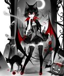 1girl animal_ears bangs bat black_cat black_hair cat cat_ears crescent_moon crossed_bangs demon_tail flower frilled_skirt frills ghost gothic hair_between_eyes halloween highres jack-o'-lantern jewelry looking_at_viewer low_wings moon necklace original red_eyes rose sheya short_hair signature skirt solo spot_color tail thigh-highs wings