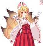 1girl alternate_costume animal_ears artist_logo blonde_hair commentary_request cosplay cowboy_shot dated fox_ears fox_tail hakama highres japanese_clothes kanon_(kurogane_knights) kantai_collection long_hair looking_at_viewer miko multiple_tails ofuda red_hakama ribbon-trimmed_sleeves ribbon_trim satsuki_(kantai_collection) simple_background smile solo tail twintails white_background wide_sleeves yellow_eyes