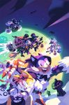 above_clouds amy_rose anger_vein bandages bat broom broom_riding candy chao_(sonic) cosplay cream_the_rabbit dr._eggman e-123_omega fangs flying food halloween halloween_basket halloween_costume hat highres jack-o'-lantern jewelry knuckles_the_echidna metal_sonic midair moon mummy_costume nathalie_fourdraine night night_sky nights_(character) nights_(character)_(cosplay) nights_into_dreams open_mouth rouge_the_bat scythe shadow_the_hedgehog silver_the_hedgehog sky smile sonic sonic_the_hedgehog tails_(sonic) top_hat witch_costume witch_hat