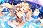 1girl ahoge animal_ears azur_lane bare_shoulders blonde_hair blush bow cat commentary_request crop_top eldridge_(azur_lane) eyebrows_visible_through_hair facial_mark flat_chest floating_hair fur_collar fur_trim gloves glowstick hair_bow hair_ornament hairclip kurot long_hair looking_at_viewer meowfficer_(azur_lane) midriff miniskirt musical_note_hair_ornament orange_skirt parted_lips paw_gloves paws pleated_skirt red_eyes skirt solo stage_lights thigh-highs twintails very_long_hair