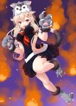 1girl :d animal_hood bangs black_ribbon black_skirt blonde_hair blush breasts claws dd_(ijigendd) eyebrows_visible_through_hair fang full_moon fur-trimmed_boots fur_collar fur_trim gloves hair_between_eyes hair_ornament hair_ribbon hairclip halloween halloween_costume highres hood hood_up kantai_collection large_breasts long_hair looking_at_viewer moon neckerchief open_mouth paw_gloves paw_shoes paws pleated_skirt red_eyes remodel_(kantai_collection) ribbon school_uniform shoes short_sleeves skirt smile solo tail wolf_hood wolf_paws wolf_tail yuudachi_(kantai_collection)