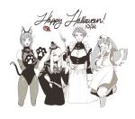 4girls animal_ears belt bow cat_ears cat_paws cat_tail clipboard closed_mouth fake_animal_ears fake_tail fire_emblem fire_emblem:_three_houses greyscale halloween happy_halloween hat highres hilda_valentine_goneril holding holding_wand krazehkai leonie_pinelli long_hair long_sleeves lysithea_von_ordelia maid maid_headdress marianne_von_edmund monochrome multiple_girls nurse_cap one_eye_closed open_mouth paws short_hair simple_background tail twintails wand white_background wide_sleeves witch_hat