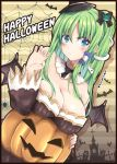 1girl bat bat_wings blue_eyes blush breasts castle choker collar cross detached_sleeeves english fingernails frills frog_hair_ornament fule graveyard green_hair hair_tubes halloween happy_halloween hat jack_o_lantern kochiya_sanae long_hair ribbon snake_hair_ornament spider_web touhou witch_hat