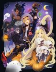 1girl 2boys ahoge black_hair blonde_hair candy candy_cane crescent_moon dark_skin dark_skinned_male elbow_gloves feather_(granblue_fantasy) food fur-trimmed_hood ghost ghost_costume gloves granblue_fantasy halloween halloween_costume harvin head_wings jamil_(granblue_fantasy) lollipop melissabelle moon multiple_boys one_eye_closed prehensile_hair pumpkin umou_(user_xxhp7583)