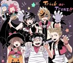 2girls 5boys animal_costume animal_ears black_hair blonde_hair blue_eyes blue_hair brown_hair candy cape claw_pose emphasis_lines food gloves halloween halloween_basket halloween_costume hat hayner headband hifumi_(aiueonigiri) horns isa_(kingdom_hearts) jack-o'-lantern kingdom_hearts kingdom_hearts_iii lea_(kingdom_hearts) looking_at_viewer mask mask_on_head mask_over_one_eye multiple_boys multiple_girls mummy_costume neck_ribbon olette open_mouth pence redhead ribbon roxas scarf shaded_face smile star tail trick_or_treat vampire_costume vest witch_costume witch_hat wolf_costume wolf_ears wolf_tail xion_(kingdom_hearts)