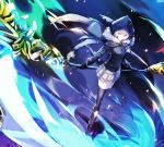 1girl add_(lord_el-melloi_ii) bangs black_cape black_footwear black_gloves black_jacket black_legwear black_ribbon boots cape commentary dyolf english_commentary eyebrows_visible_through_hair fate_(series) fur-trimmed_cape fur_trim gloves glowing glowing_eyes gray_(lord_el-melloi_ii) grey_skirt highres holding holding_scythe holding_weapon hood hood_up hooded_cape jacket long_sleeves looking_away looking_to_the_side lord_el-melloi_ii_case_files neck_ribbon plaid plaid_skirt pleated_skirt revision ribbon scythe silver_hair skirt standing thigh-highs v-shaped_eyebrows weapon yellow_eyes