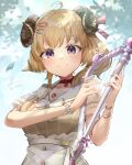 1girl absurdres ahoge animal_ears apron bangs blonde_hair blush bow breasts brown_dress choker closed_mouth commentary_request dress eyebrows_visible_through_hair hair_ornament hair_ribbon hairpin hands_up harp highres holding holding_instrument hololive horns instrument kito_koruta large_breasts leaf long_hair looking_at_viewer music pink_ribbon playing_instrument red_choker ribbon sailor_collar sheep_ears sheep_girl sheep_horns short_hair signature smile solo tsunomaki_watame upper_body violet_eyes virtual_youtuber white_apron white_bow white_sailor_collar wristband