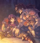 2boys armlet bag belt black_hair boots bracelet cape child dark dragon_quest dragon_quest_v facial_hair fang_necklace father_and_son hero_(dq5) jewelry log long_hair looking_at_another looking_down looking_up low_ponytail male_focus multiple_boys mustache nature on_ground pants pauldrons pelt ponytail shirtless sitting smile talking turban yuza