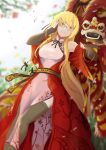 1girl adjusting_eyewear blonde_hair breasts china_dress chinese_clothes chinese_text colored_eyelashes dragon dress eastern_dragon foreshortening glasses highres long_hair medium_breasts original shiryuu_akira smile solo thigh-highs thighs wide_sleeves yellow_eyes