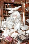 1girl animal animal_on_head asahiro bird bird_on_head blush book bookshelf candle cup desk dove flower food fruit grapes indoors ladder long_hair muted_color neck_ribbon on_head open_mouth original pale_skin paper puffy_short_sleeves puffy_sleeves red_eyes ribbon short_sleeves signature silver_hair sitting solo surprised weighing_scale