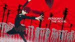 1girl arched_back arms_up black_jacket black_legwear black_skirt blazer bow breasts closed_mouth commentary_request copyright_name crowd dancing emblem hair_bow highres holding holding_umbrella jacket kumamoto_nomii-kun leg_up loafers long_hair long_sleeves megami_tensei outstretched_arms pantyhose persona persona_5 persona_5_the_royal plaid plaid_skirt ponytail red_background red_bow red_eyes red_footwear redhead reflection school_uniform shoes shuujin_academy_uniform silhouette skirt small_breasts smile solo_focus telephone_pole umbrella yoshizawa_kasumi